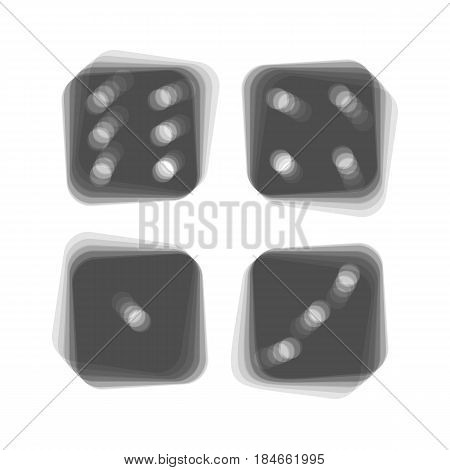 Devils bones, Ivories sign. Vector. Gray icon shaked at white background.