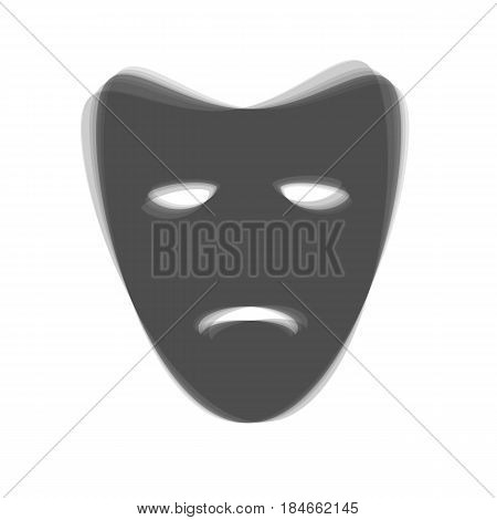 Tragedy theatrical masks. Vector. Gray icon shaked at white background.