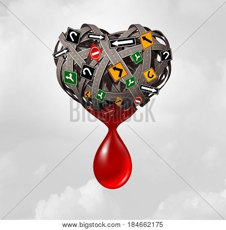 Road injury and traffic accident concept as a group of roads and street signs shaped as a heart with blood bleeding from the transportation symbol as a highway safety icon as a 3D illustration.