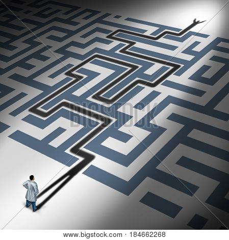 Health care solution or healthcare discovery concept as the shadow of a doctor solving a maze representing medical research success in a 3d illustration style.