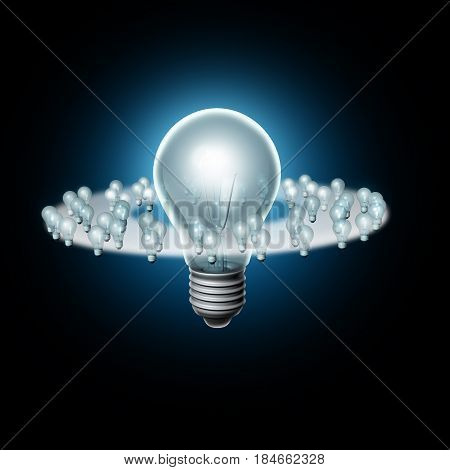 Following a big idea and creative trendsetter or trend setter influence concept as a business marketing metap[hor for sphere of influence icon with one big light bulb and smaller lights as followers as a 3D illustration.