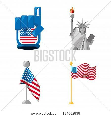 statue of liberty, number one and american flags, vector illustraton