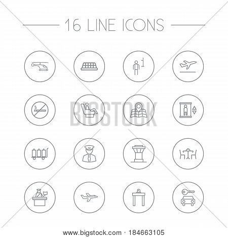 Set Of 16 Airplane Outline Icons Set.Collection Of Plane, Passport Controller, Control Tower And Other Elements.