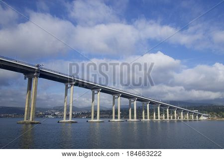 Derwent River bridge connecting to the city near Hobart, Tasmania, Australia