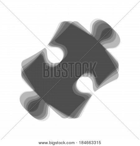 Puzzle piece sign. Vector. Gray icon shaked at white background.