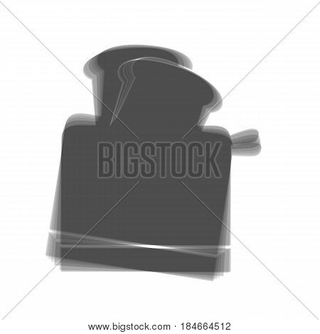 Toaster simple sign. Vector. Gray icon shaked at white background.