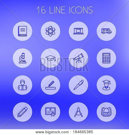 Set Of 16 Studies Outline Icons Set.Collection Of Bus, Diploma, Compass And Other Elements.