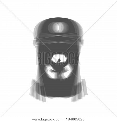 Trashcan sign illustration. Vector. Gray icon shaked at white background.