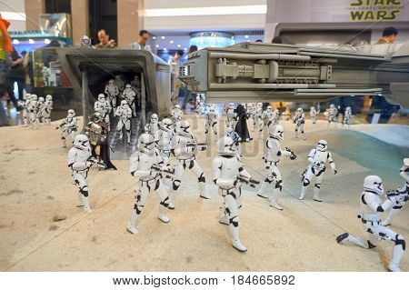 HONG KONG - CIRCA DECEMBER, 2015: First Order Stormtroopers at exhibition on second floor in Times Square