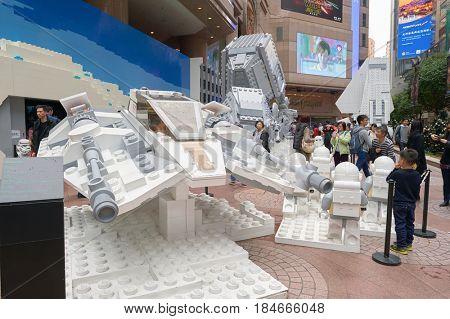 HONG KONG - CIRCA DECEMBER, 2015: the Force Awakens exhibition at Times Square