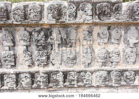 Tzompantli - The Wall of Skulls in Chichen Itza, Mexico