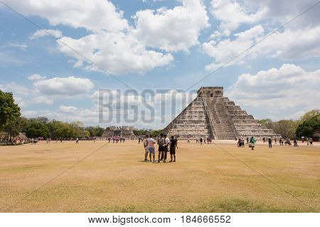 Chichen Itza, Mexico - March 31, 2017: Mayan pyramid of Kukulkan, also known as El Castillo in Chichen Itza, Mexico