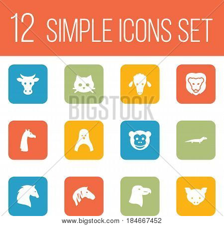 Set Of 12 Alive Icons Set.Collection Of Diver, Hog, Kine And Other Elements.