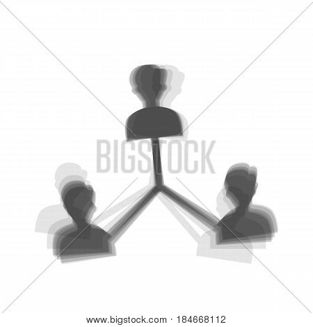 Social media marketing sign. Vector. Gray icon shaked at white background.