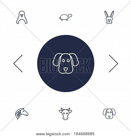 Set Of 6 Brute Outline Icons Set.Collection Of Mammal, Cow, Turtle And Other Elements.