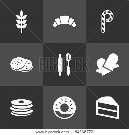 Set Of 9 Bakery Icons Set.Collection Of Striped Lollipop, Shortcake, Potholders And Other Elements.