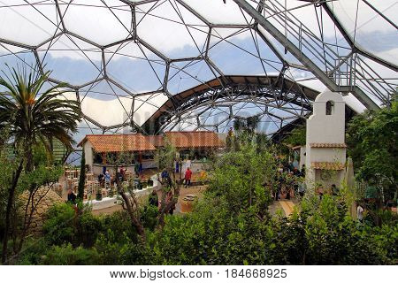 Bodelva, Cornwall, Uk - April 4 2017: Interior Of The Mediterranean Dome At The Eden Project Environ