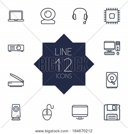 Set Of 12 Laptop Outline Icons Set.Collection Of Speaker, Cpu, Scanner And Other Elements.