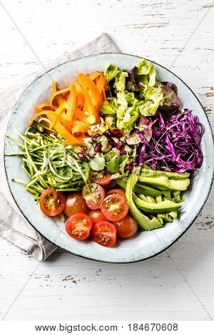Vegan buddha bowl. Bowl with fresh raw vegetables - cabbage, carrot, zucchini, lettuce, watercress salad, tomatoes cherry and avocado, nuts and pomegranate. White background, top view