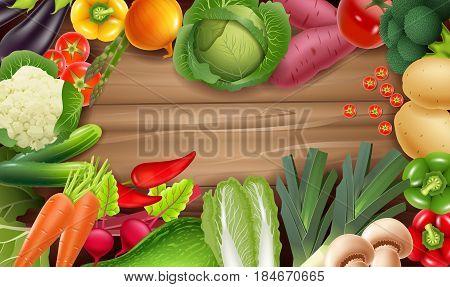 Vector illustration of Healthy fresh vegetables on rustic wood