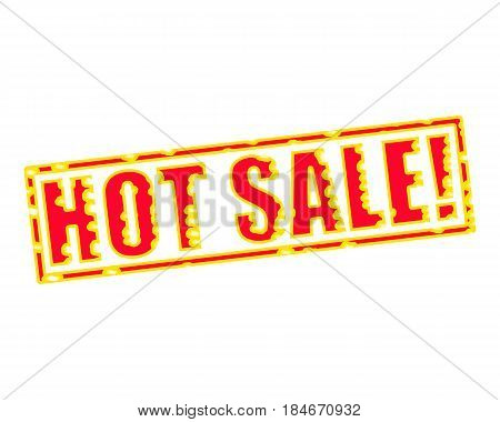 HOT SALE! RED-YELLOW Stamp Text on white backgroud
