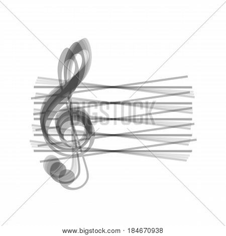 Music violin clef sign. G-clef. Vector. Gray icon shaked at white background.