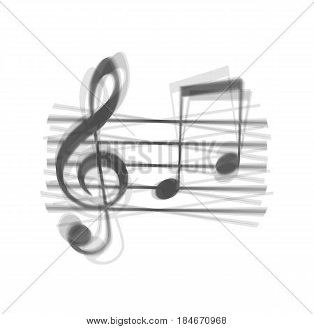 Music violin clef sign. G-clef and notes G, H. Vector. Gray icon shaked at white background.