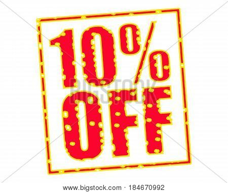 10% OFF RED-YELLOW Stamp Text on white backgroud
