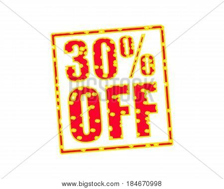 30% OFF RED-YELLOW Stamp Text on white backgroud