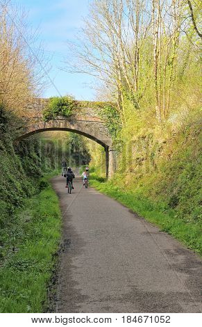 Wadebridge, Cornwall, Uk - April 6 2017: Cyclists Riding Along The Camel Trail From Wadebridge To Pa