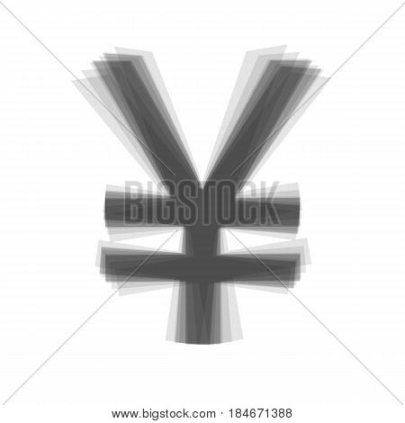 Yen sign. Vector. Gray icon shaked at white background.