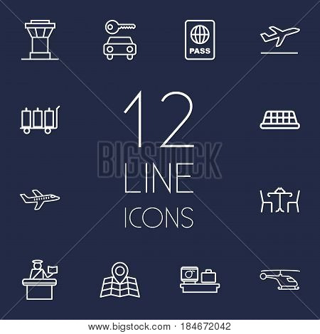 Set Of 12 Airplane Outline Icons Set.Collection Of Plane, Passport Controller, Map And Other Elements.
