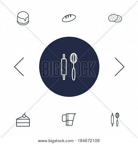 Set Of 6 Cook Outline Icons Set.Collection Of Cookie, Measuring Cup, Pudding And Other Elements.