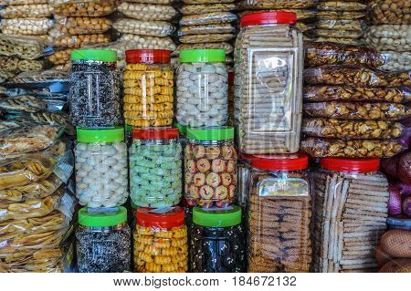 Kota Kinabalu,Sabah-June 24,2016:Variety of traditional Sabah handmade Kuih is literally translated as cookies or biscuit or snack or pastry or cracker ready to sale in the market of Kota Kinabalu,Sabah,Borneo.