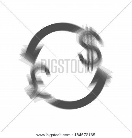 Currency exchange sign. UK: Pound and US Dollar. Vector. Gray icon shaked at white background.