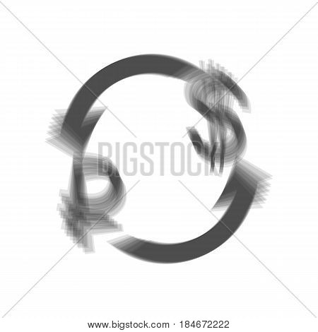 Currency exchange sign. Ruble and US Dollar. Vector. Gray icon shaked at white background.