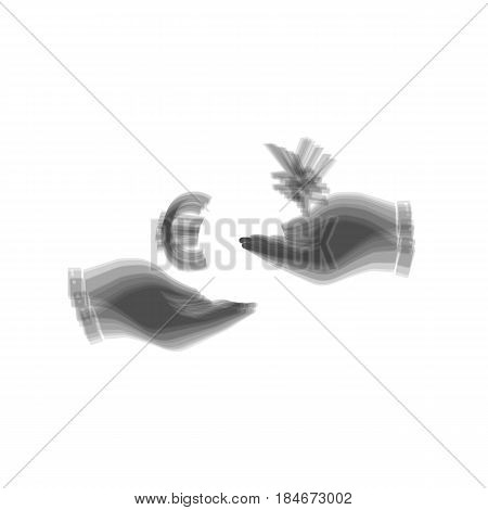 Currency exchange from hand to hand. Euro and Yen. Vector. Gray icon shaked at white background.