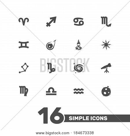 Set Of 16 Horoscope Icons Set.Collection Of Archer, Space, Water Bearer And Other Elements.