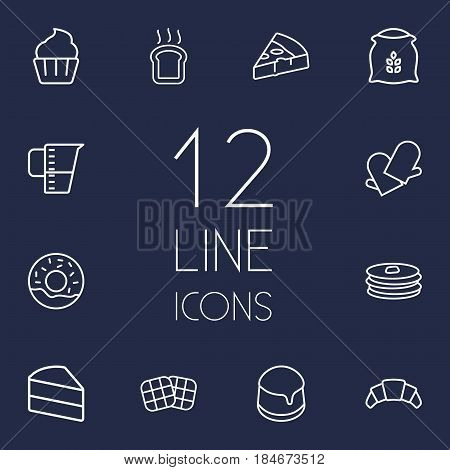 Set Of 12 Bakery Outline Icons Set.Collection Of Pizza, Measuring Cup, Toast And Other Elements.