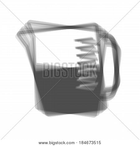 Beaker sign. Vector. Gray icon shaked at white background.