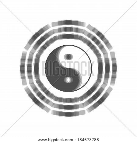 Yin and yang sign with bagua arrangement. Vector. Gray icon shaked at white background.