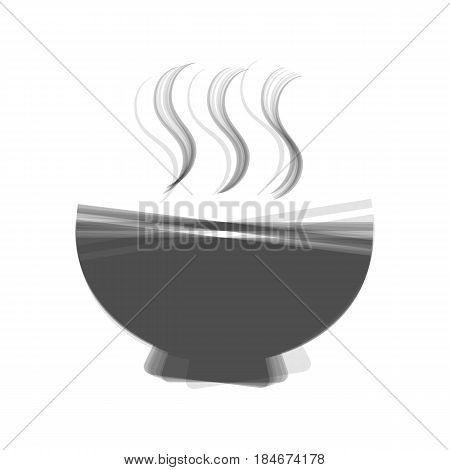 Soup sign. Vector. Gray icon shaked at white background.