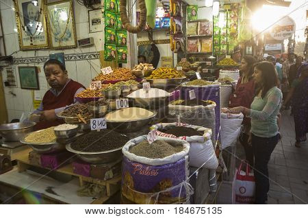 DELHI INDIA - MAR 21 : herb and spice display in spice market at old delhi. this market is famous and biggest spice market in delhi on march 21 2015 india