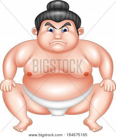 Vector illustration of Sumo wrestler cartoon on white background