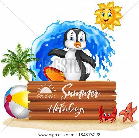 Vector illustration of Summer holidays with wooden sign and surfing penguin