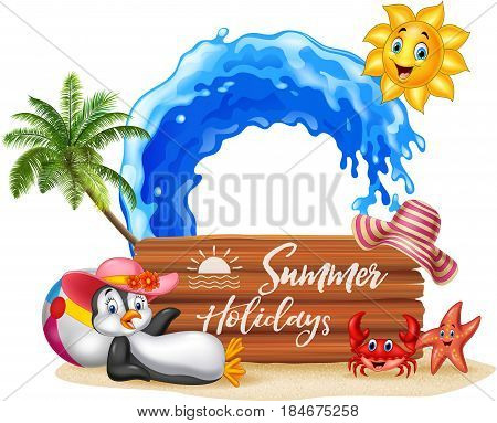 Vector illustration of Summer holiday with wooden sign and happy penguin