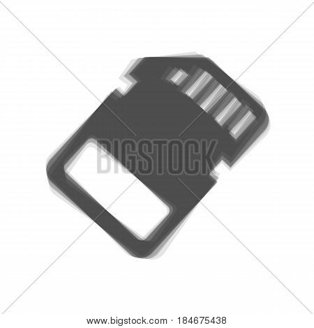 Memory card sign. Vector. Gray icon shaked at white background.