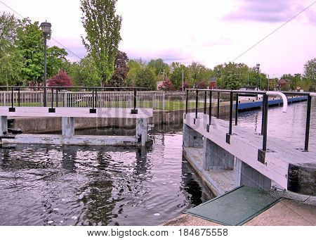 The Lock on the Rideau Canal in Smiths Falls Canada May 18 2008