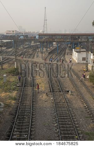 DELHI INDIA - JUN 18 : railway view of new delhi railway station of delhi on june 18 2015 india. this station is large station of delhi