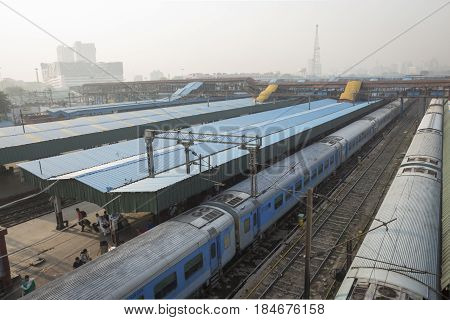 DELHI INDIA - JUN 18 : view of train in platform of new delhi railway station. this station is large station of delhi on june 18 2015 india